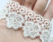 Clearance Sale Last 15Yards Soft Ivory Cute Clover Lace Trim 4cm Wide Zakka Home Fashion Handmade Craft