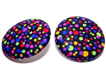 Extra Oversized Colorful Bright Polka Dot Button Earrings