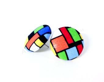 Small Colorful Squares Print Button Earrings