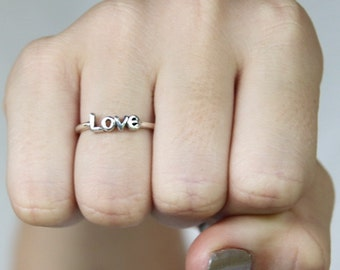 Sterling Silver Love word stacking Ring, 925 poetic  Inspirational word, Friendship rings, Valentines day, Mothers day, engagement ring
