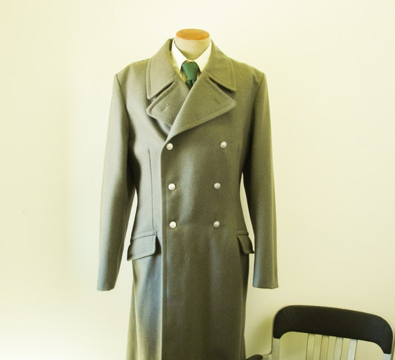 70s East German Army Coat Gray Wool Mens Winter Coat East