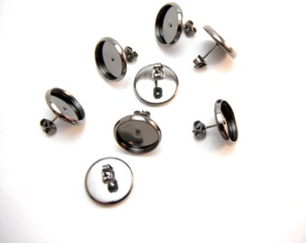 20 Pcs Earring Posts With Butterfly Earnuts Metallic Black Color (12mm Tray)- Size: 14mm Diameter, 12mm Inner Tray Diameter, Pin 1mm EAR002