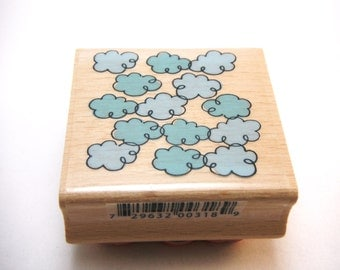Clouds Wood Mounted Rubber Studio G Stamp NEW