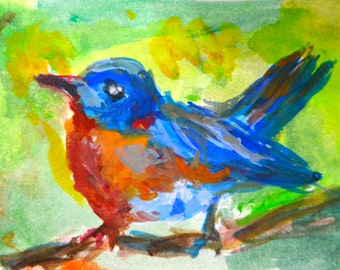 Original ACEO- Eastern BlueBird
