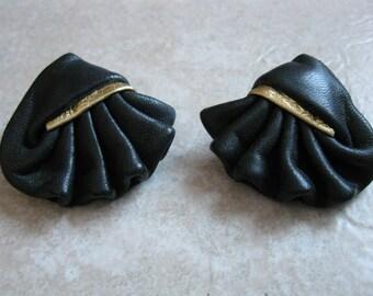 FREE Shipping! Vintage 1980's Black & Gold Leather Fan Pierced Earrings Retro Rocker Steampunk OOAK Handcrafted