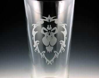 World of Warcraft Alliance Symbol Pint Glass