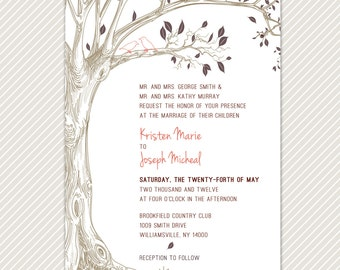 DIY Printable Tree with Love Birds Wedding Invitation