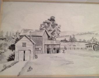 Vintage barn farm art