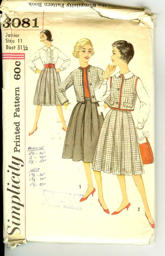 vintage pleated skirt blouse and jacket sewing pattern