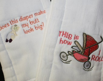 Set of 2 Baby Burp Cloths with Diaper and Stroller Designs