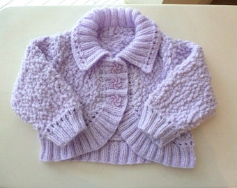 Hand knitted baby girl bolero cardigan, mauve sweater. Fit to 3 months. Soft & cosy.