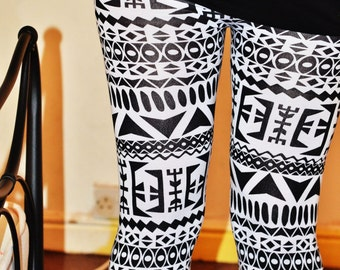 SALE Womens Aztec printed black and white striped Leggings Tights Pants