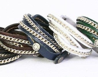 Thin Wrap Leather Bracelet with Stiched on Metal Chain. B004