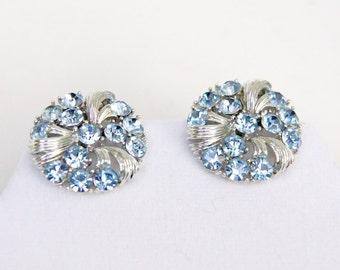 Lisner Rhinestone Earring, Blue Stone Earrings, Silver Tone Clip Earrings, Something Blue - Signed Vintage