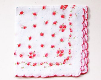 Cotton Flowers Handkerchief Hankie Printed Flowers Pink Green Hand Hemmed - Scallpoed Edge - Vintage