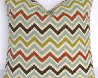 SALE Zigzag Floor Pillow Cover, Euro Sham, Chevron, Rust Orange, Chocolate Brown, up to 28x28 inch, Zoom Zoom Village Premier Prints