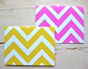 Pink Lemonade Chevron Blank Notecards - 1 Design - Set of 8 - Personalization Available
