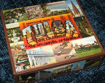 TULSA OK travel postcard decoupage cigar box