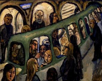 Romanesque Metro, Paris. 18x24 Oil on Canvas, Modern Urban Industrial Subway Painting, Signed Original Fine Art