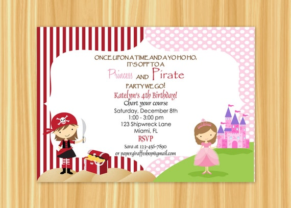 Pirate and Princess Invitation Pirate and Princess Birthday – Princess and Pirates Party Invitations