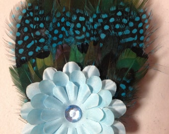 Blue Flower Feather Hair Clip, Feather Fascinator, Feather Hairpiece