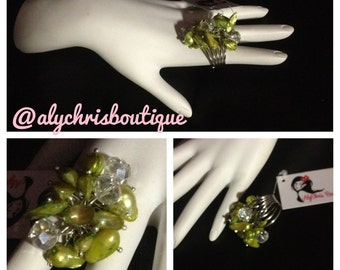 Green C.Freshwater Pear & Crystal Beaded Ring