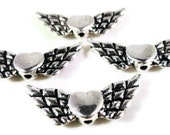 Silver Wing Beads 22x10mm Antique Silver Tone Metal Winged Heart Spacer Beads 25 Loose Beads per Pack