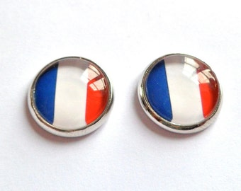 french flag stud earring silver 13 mm  travel Bastille day
