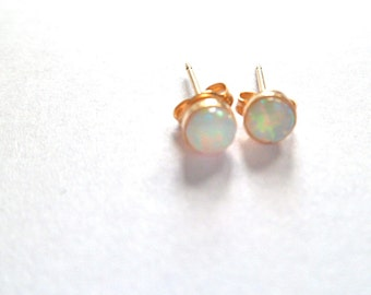 Opal, small opal earrings, gold stud earrings 14k gold fill white Australian natural 4mm, mothers day