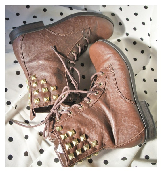 GRUNGE Brown / GOLD studded / Combat Boots