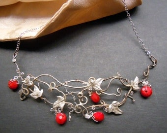 Parure delle janas. necklace and earrings with crystals means, 925 silver, handmade, Liberty style