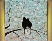 Original Abstract  Love  Birds Impasto Textured Palette Knife Birds Blue  Painting. Made2Order.