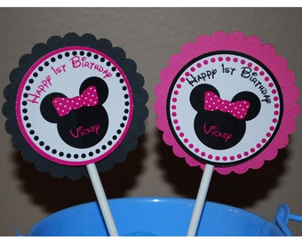 Minnie Mouse Head Cupcake Toppers - Set of 12 Personalized Birthday Party Decorations
