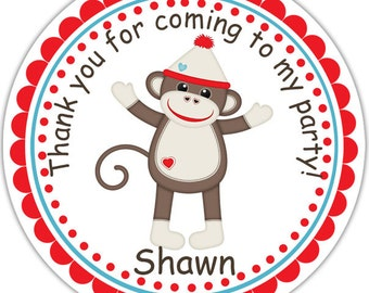 Sock Monkey- Personalized Stickers, Party Favor Tags, Thank You Tags, Gift Tags, Address labels, Birthday, Baby Shower