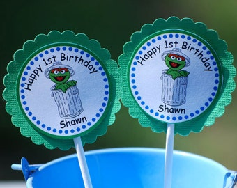 Oscar the Grouch Sesame Street Cupcake Toppers - Set of 12 Personalized Birthday Party Decorations