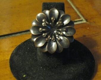 Antique Brass Daisy Adjustable Ring