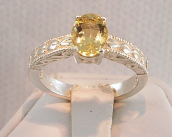 Beryl Ring, 0.89 Carat, Yellow, Sterling Silver Ring, Oval Portuguese Cut, NEW Vintage Ring, Size 7