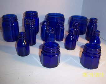 1950's  Lot of 15 cobalt blue medicine bottles 2 to 3 1/8 inches tall