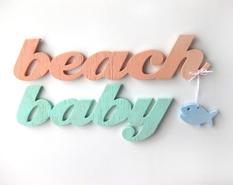 Beach Baby, nursery, baby shower gift, word sign, wood sign, beach, distressed,  shabby chic