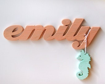 Baby name, nursery, personalized, kids room, baby shower gift, word sign, wood sign, beach, distressed, shabby chic