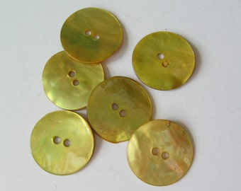 Yellow shell buttons 10 pcs