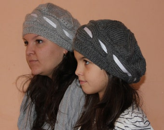 Cable Slouch Hat - Hand Knit in Soft Wool Mix Yarn
