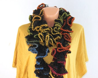 Ruffle scarf with wool, Crochet scarf, Ruffles and Bobble scarf, Boa Scarf