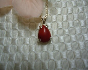 Pear Cabochon Red Coral Necklace in Sterling Silver   #652