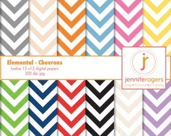 Instant Download Printable Chevron Digital Paper 12 x 12, Digital Scrapbooking Paper, Invitation Paper, Royalty Free - Commercial Use,