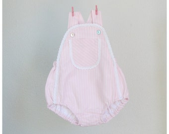 Baby Girl romper - Striped pink cotton romper with front pocket