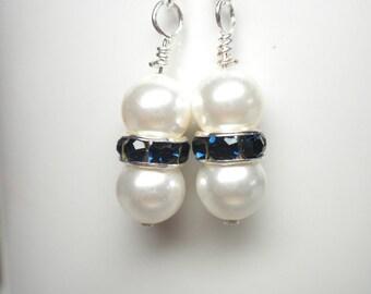Swarovski Pearl Earrings with Montana Blue Rhinestone Rondelles