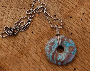 Wire Wrapped Blue Sky Jasper Pendant, Turquoise pendant