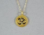Ohm Symbol Disc Necklace, Vermeil Style, 14K Gold Filled Chain, Modern, Simple, Pretty, Wonderful Jewelry