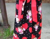 Hearts and monkeys pillowcase dress-size 3T available immediate ship-3mo -6/7 available :VD007